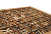 Individual Wooden Type Printing Blocks — Stock Photo