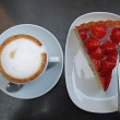 Strawberry pie and Cappuccino — Stock Photo