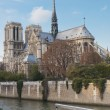 Notre Dame Cathedral and riverboat cafe. — Stock Photo #8958588