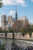 Notre Dame Cathedral and a riverboat cafe. — Stock Photo