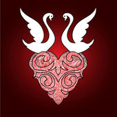 Stylized Swans with valentine heart — Vecteur