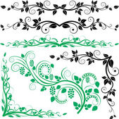 Plant decoration and corners — Vector de stock