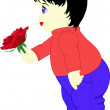 Stock Vector: Boy with rose