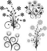 Siluet çiçekler — Stok Vektör