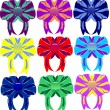 Stock Vector: Group of multi-colored bows and tapes