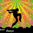 Cтоковый вектор: The vector colourful background of dancing person
