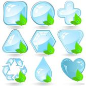 ECO of an icon with water crystals — Stock Vector