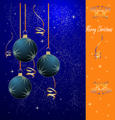 Christmas background with dark blue spheres — Stock Vector