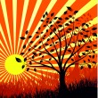 Vector de stock : Bright background of sunrise