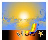 Vector illustration of sunrise on the sea — Stock Vector
