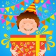 Boy with a gift birthday - Stock Vector