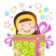 Girl with a gift - Stock Vector