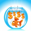 Royalty-Free Stock Vector Image: Goldfish aquarium dollar