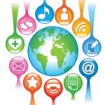 Social-Media-Planet — Stock Vector