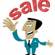Man points to the sale of — Stock Vector