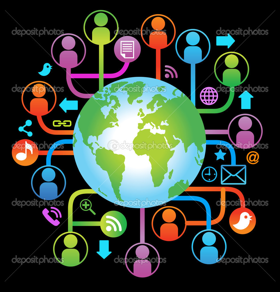 Social network, communication in the global computer networks. — Stock Vector #8560169