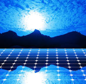 Solar panel blue sky — Stock Photo