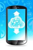 телефон облако социальная сеть — Cтоковый вектор