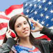 Learning language - American English (girl) - Stock Photo