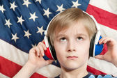 Learning language - American English (boy) — Stok fotoğraf