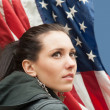 Girl with USA flag — Stock Photo #10250018