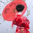 Geisha with red umbrella at the riverside - Stock Photo