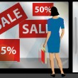 Stock Vector: Window Shopping 1