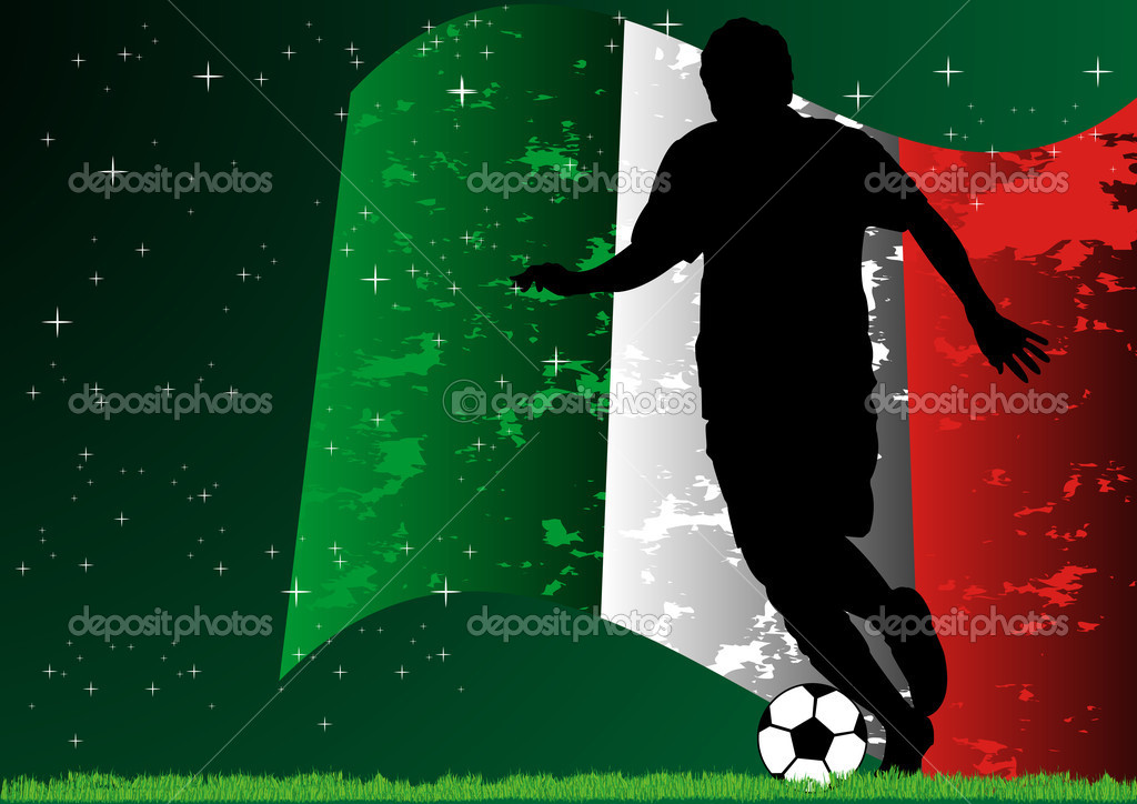 A Stock Vector illustration of soccer player with Italy flag background  Stock Vector #10615799