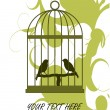 Stock Vector: BIrd and Cage Card