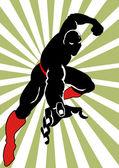 Hero In Black on Action — Stock Vector