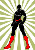 Héroe de negro en acción 2 — Vector de stock