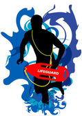 Lifeguard on Action — Stock Vector