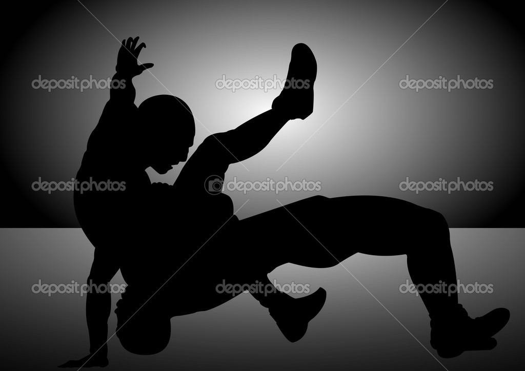 A Vector silhouette of 2 men wrestling to become the best — Stock Vector #9090101