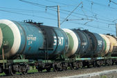 Crude oil tank truck train — Stock Photo