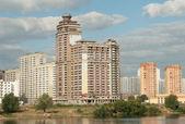 Large-scale housing construction in the floodplain Pavshinskaja, — Stock Photo