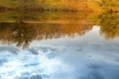 Reflection of the sky and trees in water in the autumn — Stock Photo