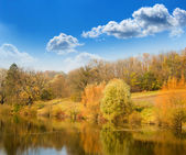 Autumn landscape on the bank of lake — Stock Photo