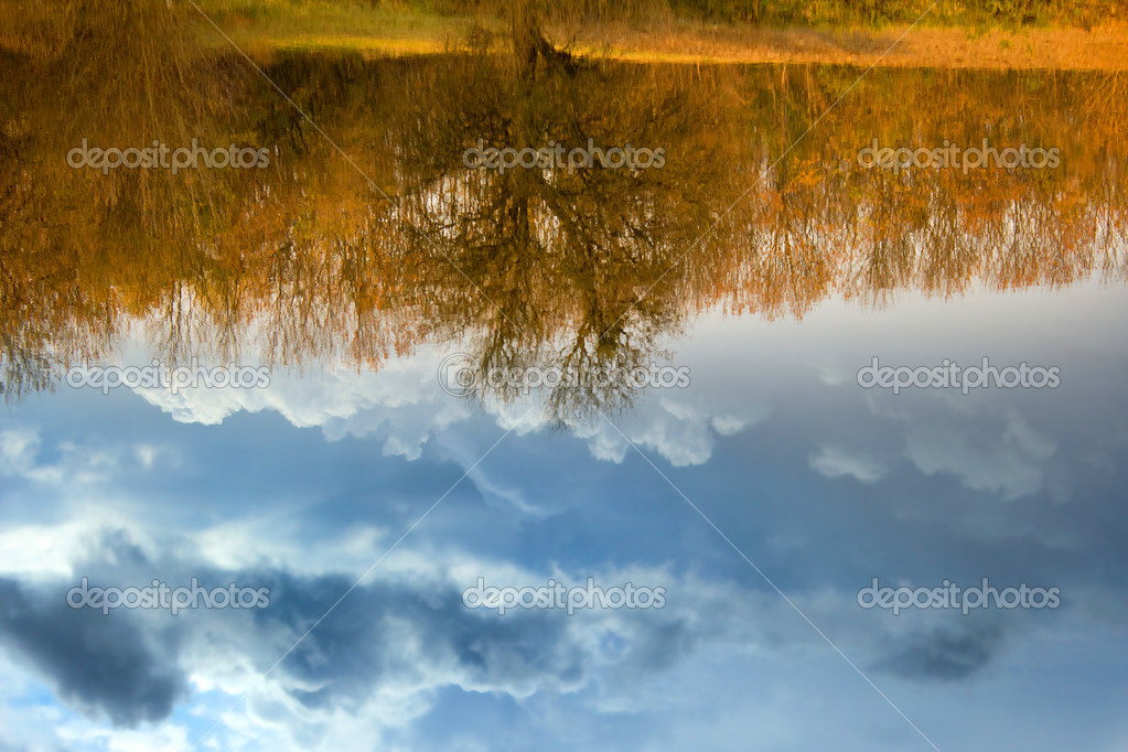 Reflection in the river of thunderclouds and trees — Stock Photo #8546138