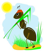 Ant with green blade — Stock Vector