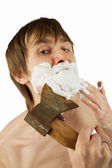 Shaving with axe — Stock Photo