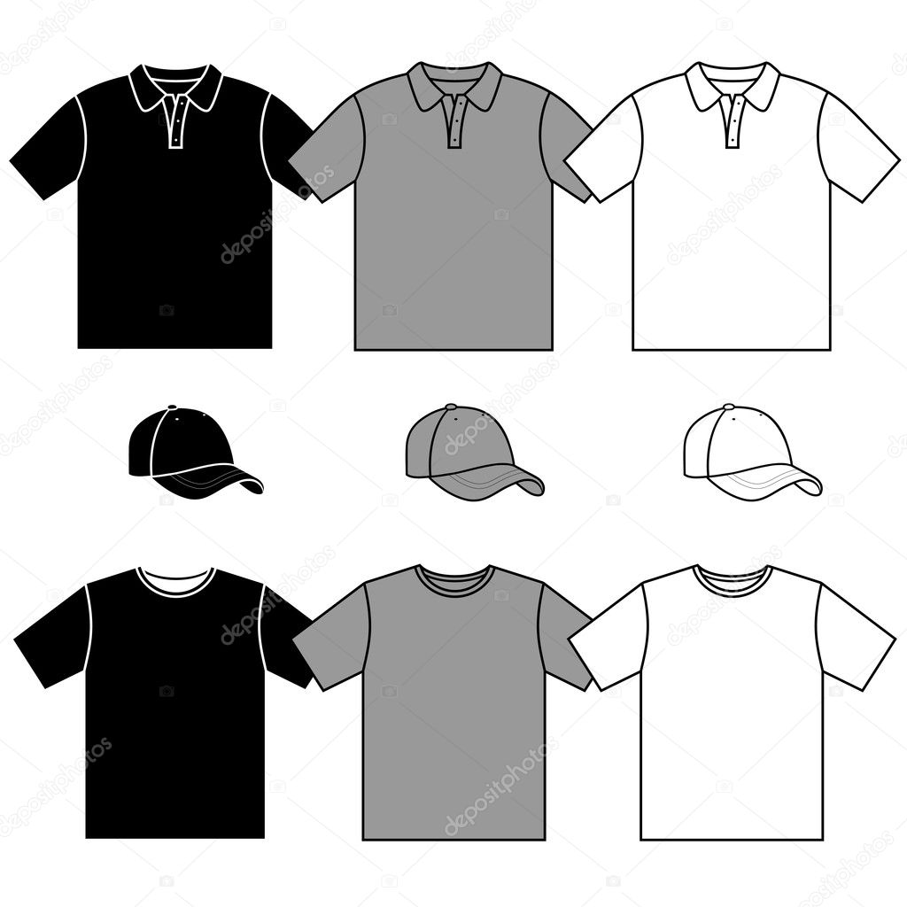 T-shirt men's and baseball cap vector set.  — Stock Vector #10353243