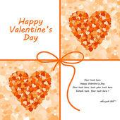 Vector valentines day orange card. — Stock Vector