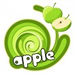 Green apple sticker. — Stockvektor