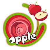 Label apple red. — Stock Vector