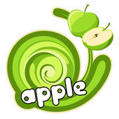 Green apple sticker. — Stock Vector