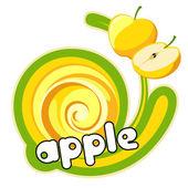 Yellow apple label. — Stock Vector