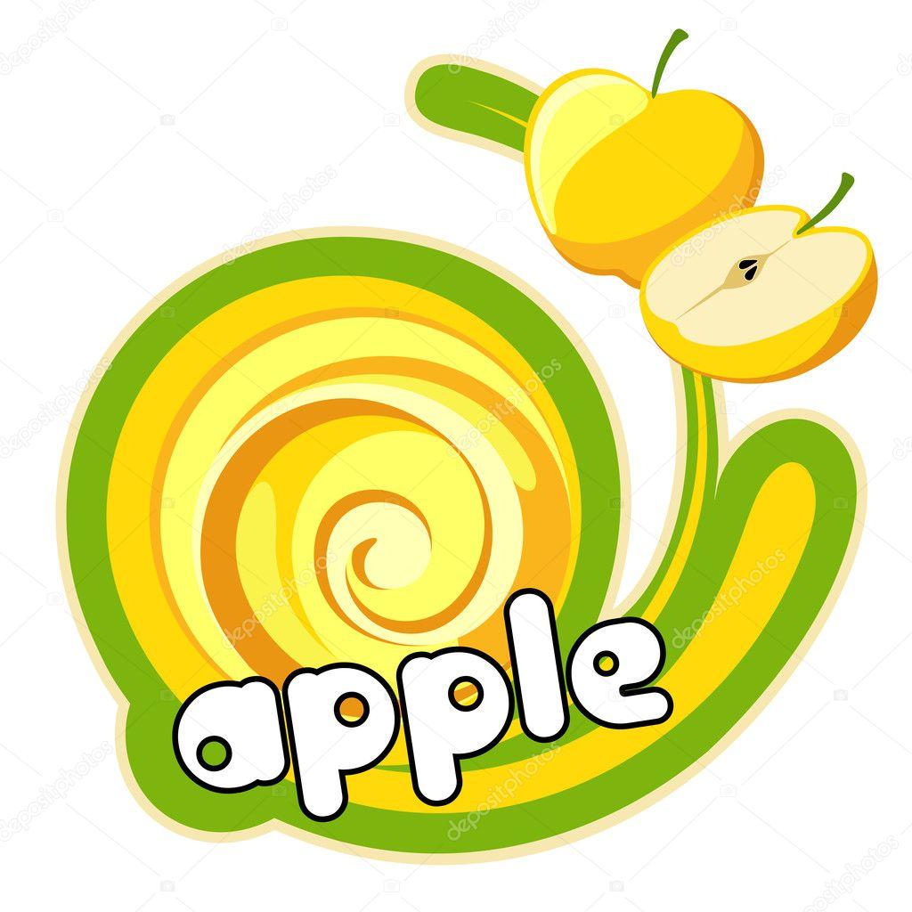 黄色苹果标签 — 图库矢量图片
