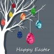 Easter card with hanging eggs on branch. — Stock Vector #9690167