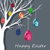 Easter card with hanging eggs on the branch. — Stock Vector