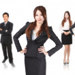 Business woman confident smile with group background — Stock Photo
